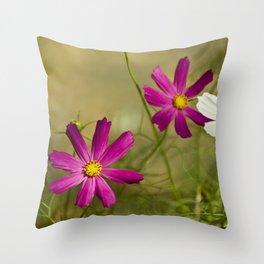 Purple and white autumn flowers Throw Pillow
