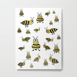 Golden Bees Metal Print