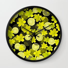 Lime and flowers on black Wall Clock