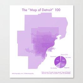 """100 """"Maps of Detroit"""" Canvas Print"""