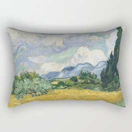 Wheat Field with Cypresses by Vincent van Gogh Rectangular Pillow
