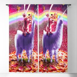Laser Eyes Outer Space Cat Riding On Llama Unicorn Blackout Curtain