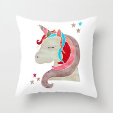 MAGICAL DREAMING UNICORN - RED PALETTE Throw Pillow