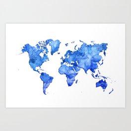Cobalt blue watercolor world map Art Print