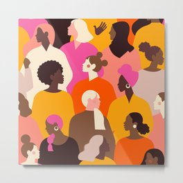 Female diverse faces pink Metal Print