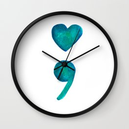 Heart Semicolon Suicide Prevention and Awareness Blue Watercolor Wall Clock