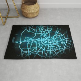 Leipzig, Germany, Blue, White, Neon, Glow, City, Map Rug