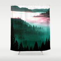 mountains Shower Curtains featuring Misty Mountains Morning : Magenta Mauve Teal by 2sweet4words Designs