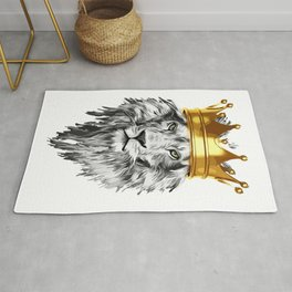 lion with a crown power king Rug