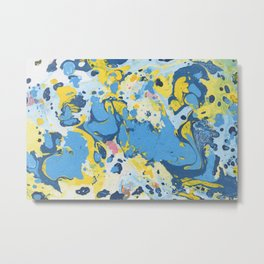 Abstract Blue & Yellow Paint Metal Print