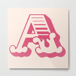 The Letter A - Retro Style Font Design Metal Print