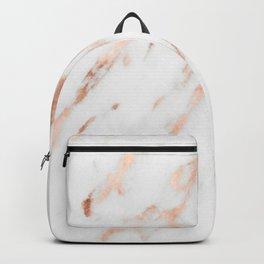 Pink Quartz Marble Rose Gold White Backpack