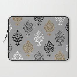 Orna Damask Ptn BW Grays Gold Laptop Sleeve