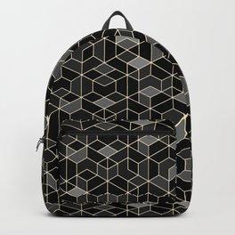 Black geometry / hexagon pattern Backpack
