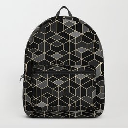 Black geometry / hexagon pattern Backpack