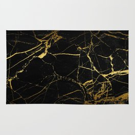 Black-Gold Marble Impress Rug
