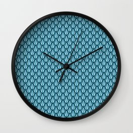 Gleaming Blue Metal Scalloped Scale Pattern Wall Clock