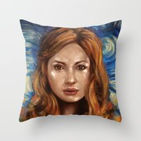 amy pond Throw Pillows featuring Amy Pond Vincent van Gogh Doctor Who by SachsIllustration
