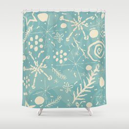 Winter Snowflakes and Doodles Shower Curtain