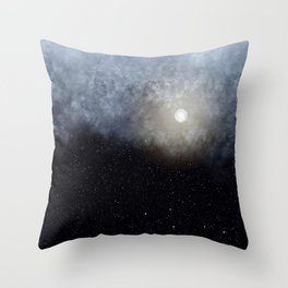 Glowing Moon in the night sky Throw Pillow