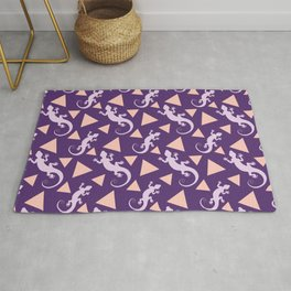 Wild crawling lizards, geometric triangle shapes whimsical ethnic tribal retro vintage dark purple lizard abstract pattern. Gifts for geometry and animal lovers. Herpetology theme. Rug