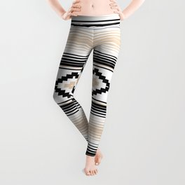 Modern Mexican Serape in Tan Leggings