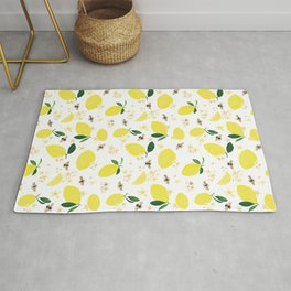 Lemons Blossoms and Bees Pattern Rug