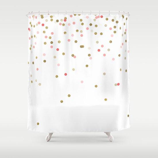 Gold & Pink Confetti Shower Curtain by BySamantha | Samantha ...
