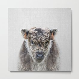 Fluffy Cow - Colorful Metal Print