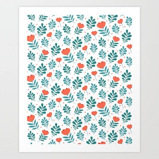 Floral Leaf Pattern Art Print