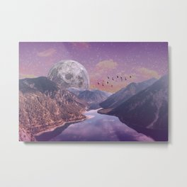 Moon Rise Over the Mountains Metal Print