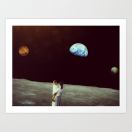 Venus-Pluto-Earth Conjunction observed from the Moon Art Print