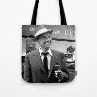 frank sinatra Tote Bags featuring Frank Sinatra in Las Vegas by Gabriel T Toro
