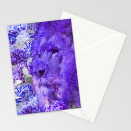 LION AND ORCHIDS  PURPLE AND BLUE FANTASY DREAM Stationery Cards