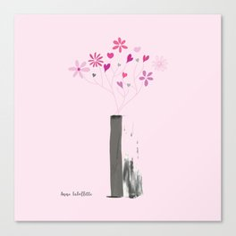 Valentine's Bouquet in Grey Vase Canvas Print