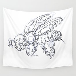 Honey Bee Line Drawing Wall Tapestry