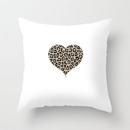 Cheetah Pattern Heart Leopard Fur Heart Shape Animal Print Throw Pillow