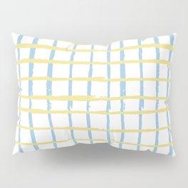Pastel yellow teal watercolor geometrical checker stripes Pillow Sham