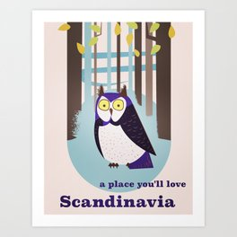 Scandinavian Owl in the forest Vintage poster Art Print