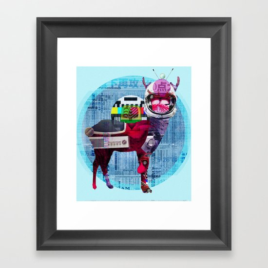Deer Space TV Framed Art Print