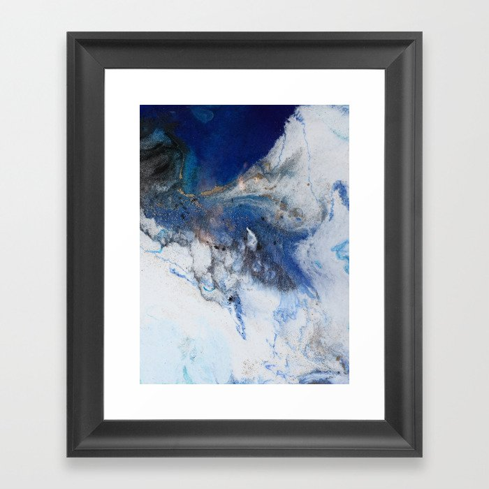 Abstract blue marble Gerahmter Kunstdruck