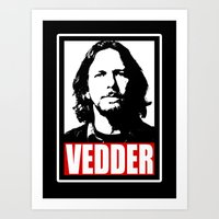eddie vedder Art Prints featuring Eddie Vedder by Darkside-Shirts
