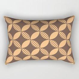 Mid Century Modern Geometric Flower Pattern Brown and Orange 2 Rectangular Pillow