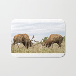 North American Wildlife - Fighting Bull Elk Pictures Bath Mat
