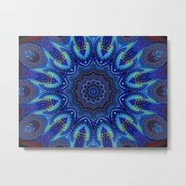 Blue Spiral Kaleidoscope Metal Print
