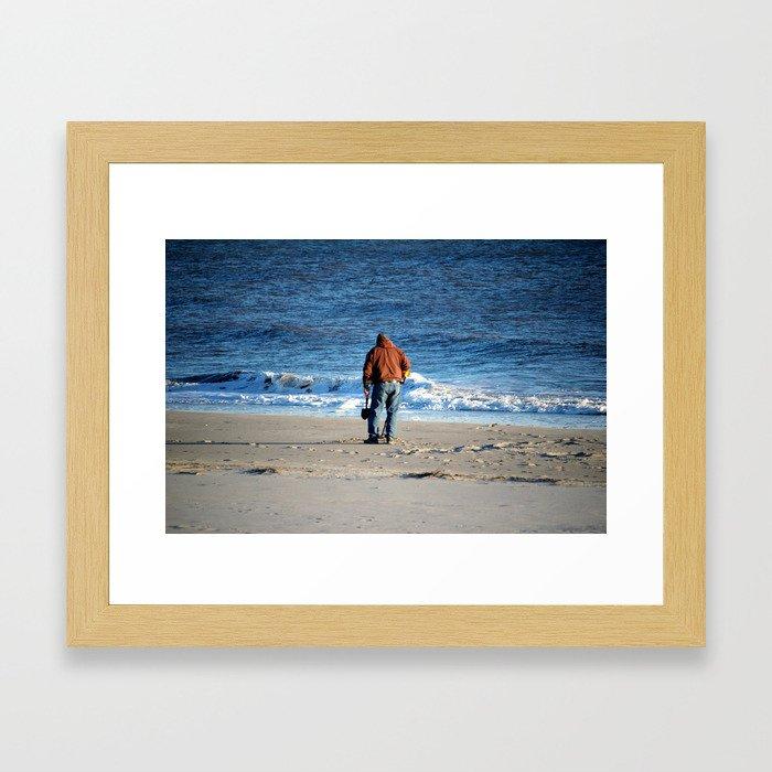 Searching The Beach Framed Art Print