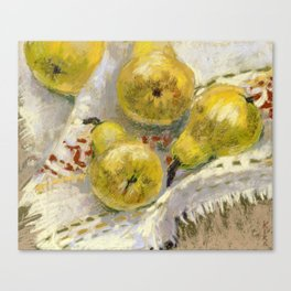 Yellow Pears on Tablecloth Canvas Print