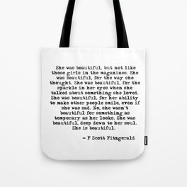 She was beautiful - Fitzgerald quote Tote Bag