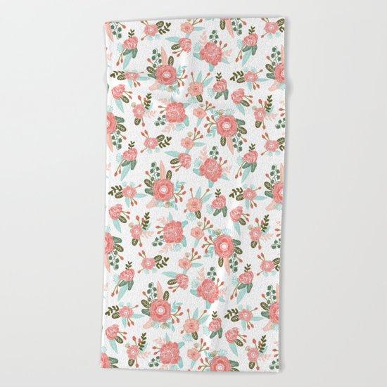 Trendy florals abstract painting gender neutral spring summer gardener gardening garden flowers Beach Towel