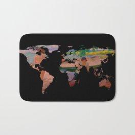World Map Silhouette - Undressing at The Beach (blk) Bath Mat